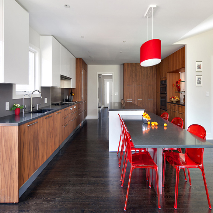 Wood grain melamine kitchen design-Allandcabinet project-San Francisco-USA