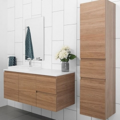 Wall mounted wood tone vanity