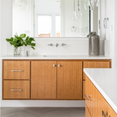 Contemporary wood tone vanity