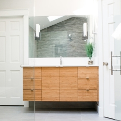Slab door wood tone vanity