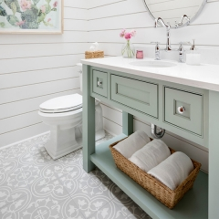 Insert door light green painted vanity