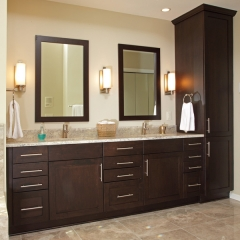 Dark stained overlay door vanity