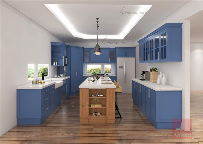Allandcabinet Classic designing blue shaker solidwood Kitchen cabinet