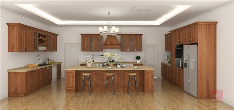 Allandcabinet brown color cherry solid wood kitchen cabinet