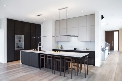 Modern design black timber tone and white lacuqer kitchen cabinet- Allandcabinet