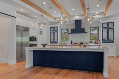 Navy blue and white painted transitional kitchen with shaker insert framed door-Allandcabient
