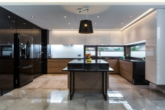 High gloss lacquer painted and wood grain modern design kitchen-Allandcabinet
