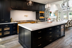 Tansitional dark blue painted shaker kitchen
