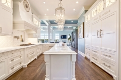 Formal traditional white kitchen with custom hood-Allandcabinet