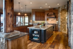 Rustic natural wood kitchen cabinet with black painted island-Allandcabinet