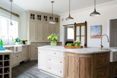 Transitional kitchen with biege painted and rustic wood tone cabinets-Allandcabinet