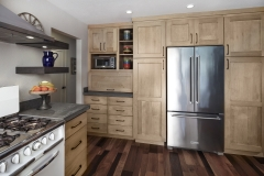 Full overlay natural stain painting maple wood kitchen design with framed shaker door -Allandcabinet