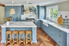 Light blue shaker kitchen with gold handles and pulls-Allandcabinet